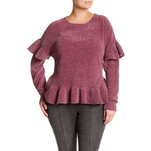MELROSE AND MARKET Chenille Ruffle Sweater 1X